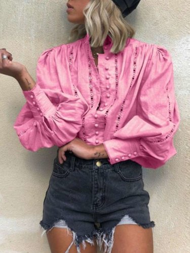 Fashion Pure Stand collar Puff sleeve Blouses