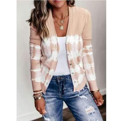 Casual Print Long sleeve V neck Knit Cardigan