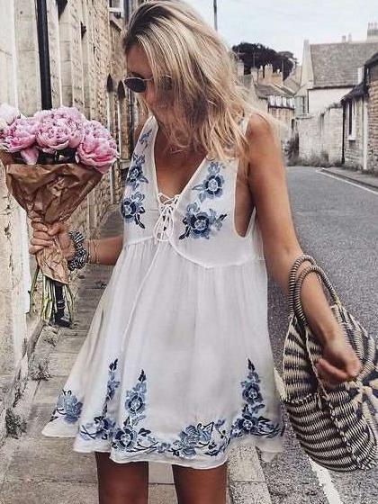 Fashion Print Lacing Vest Vacation Dresses