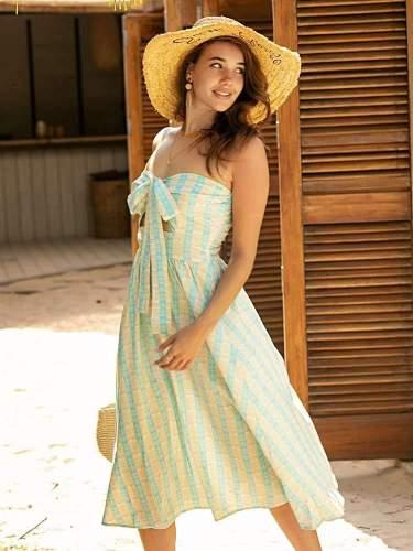 Fashion Lacing Stripe Vest Skater Dresses