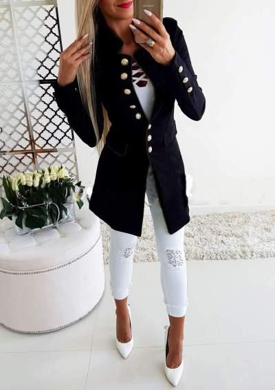 Fashion Stand collar Fastener Long Blazer
