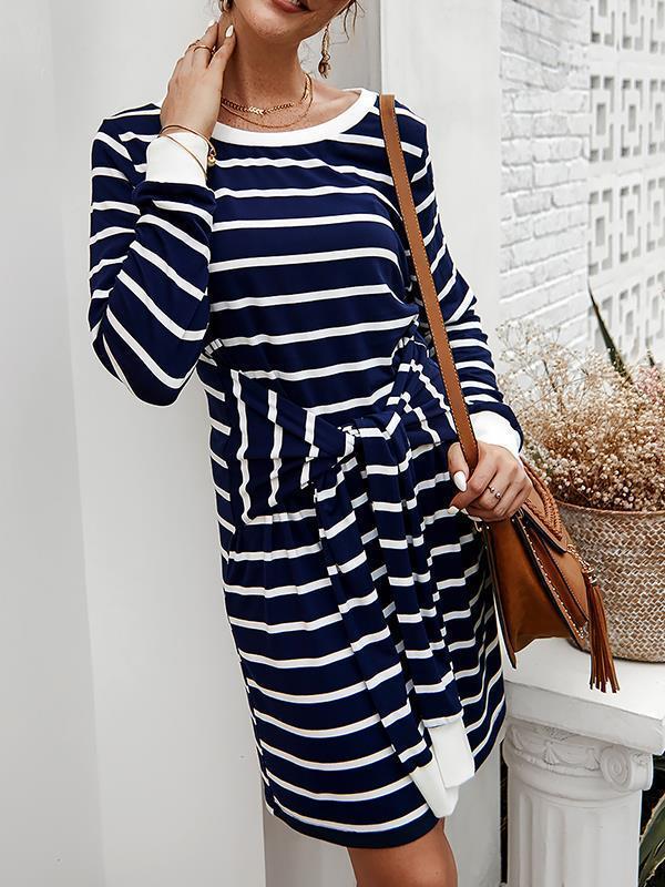 Chic round neck casaul women tie waist stripe printed bodycon dresses
