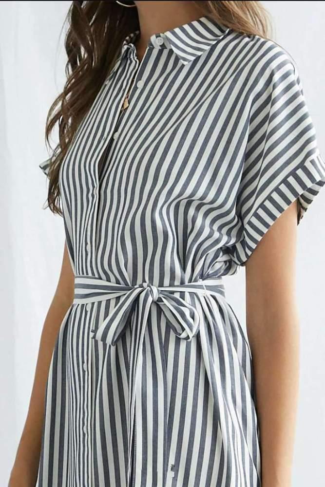 Fashion Stripe Lapel Short sleeve Lacing Shift Dresses