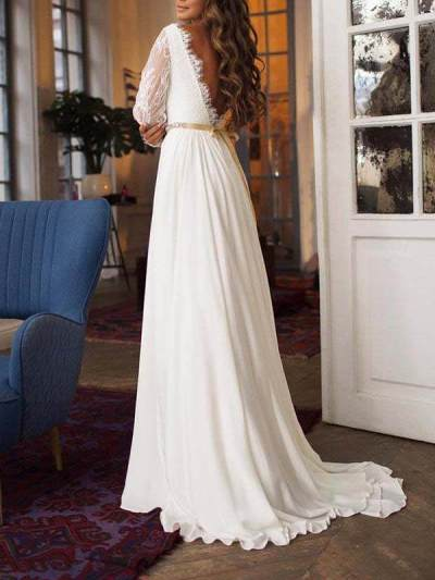 Sexy round neck long sleeves backless gown party dress evening dresses
