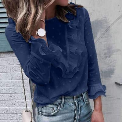 Fashion Point Round neck Long sleeve Falbala Blouses