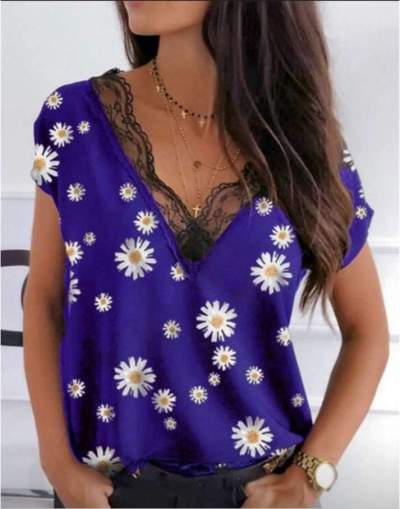 Casual Loose Print Lace V neck Short sleeve T-Shirts
