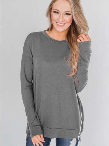 Fashion Loose Round neck Zipper Hoodies & Sweatshirts