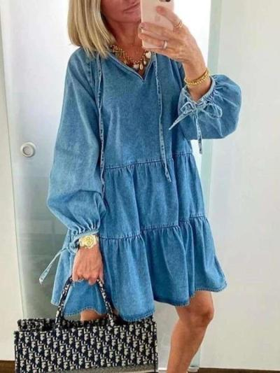 Fashion Casual Pure Gored Long sleeve V neck Jean Shift Dresses