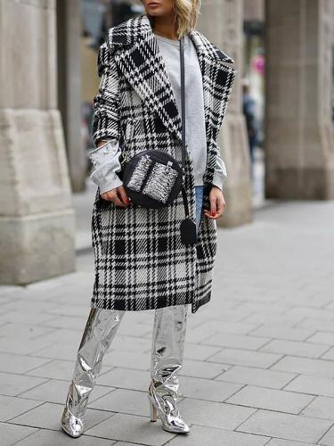 Big lapel women grid printed plaid long coats