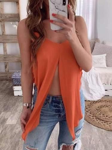 Plus Size Solid color sexy halter top Women vests