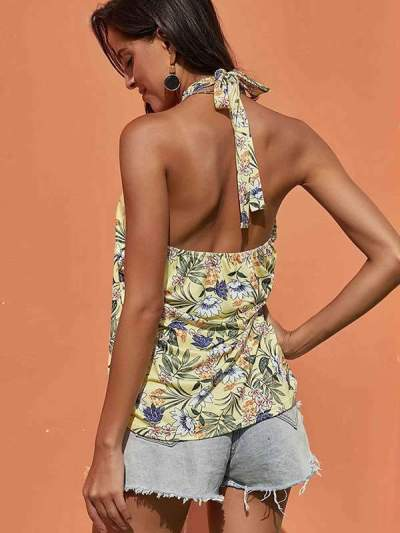 Women Band Neck Vacation Sexy Printed Vests