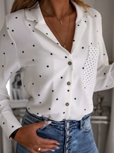 Fashion Point print Polo Pocket Long sleeve Blouses
