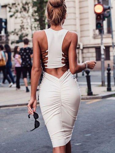 Sexy Lacing Round neck Bodycon Dresses