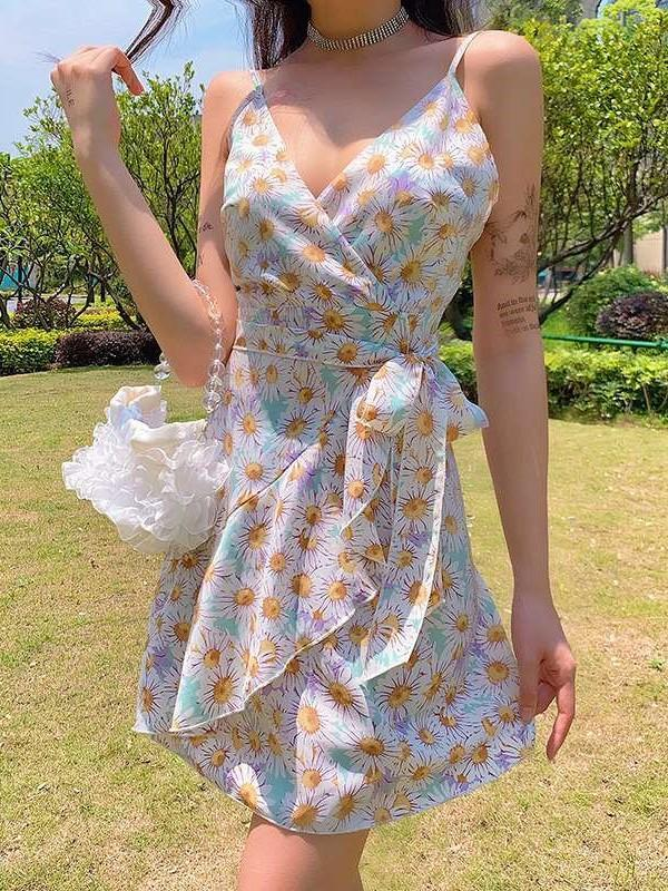 Casual Print V neck Sleeveless Vest Lacing Shift Dresses