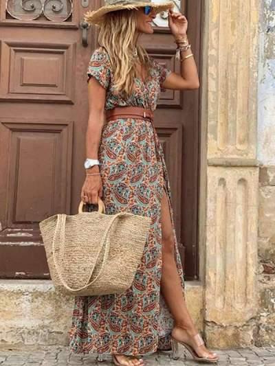 Bohemian v-neck floral long vacation dresses