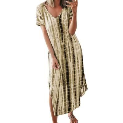 Casual Loose Plaid V neck Short sleeve Maxi Dresses