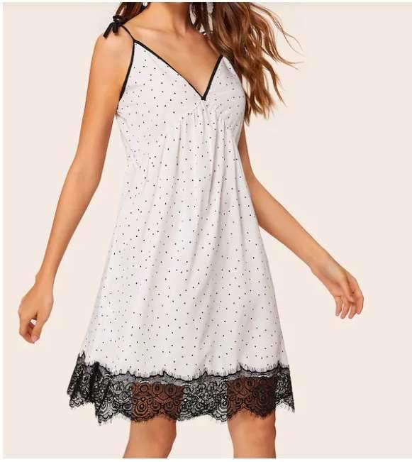 Fashion Loose Lace Point Vest Shift Dresses