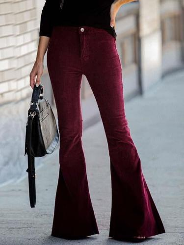 Slim fringe casual corduroy flared trousers long pants