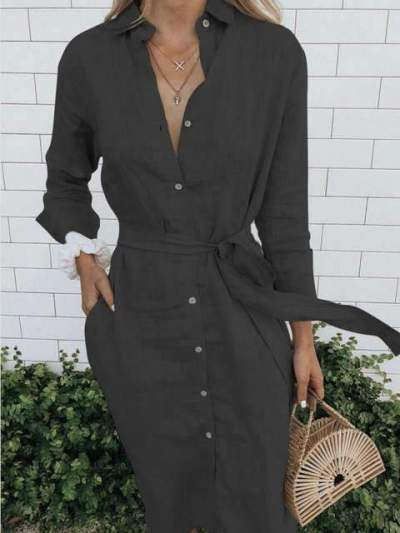 Fashion Pure Fastener Lapel Long sleeve Maxi Dresses
