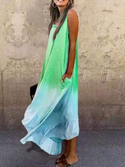 Fashion Casual Gradient Sleeveless Irregular Falbala Maxi Dresses