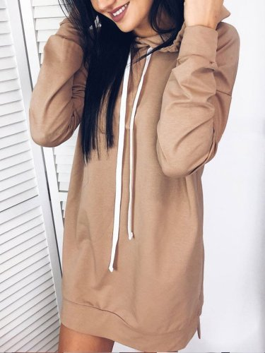 Plain Woman Long Hooded Sweatshirts