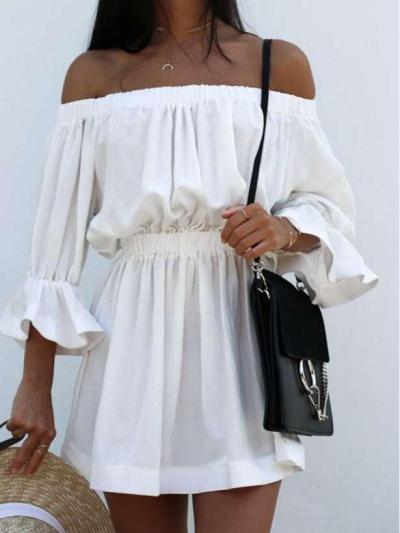 Fashion Off shoulder  Falbala Skater Dresses