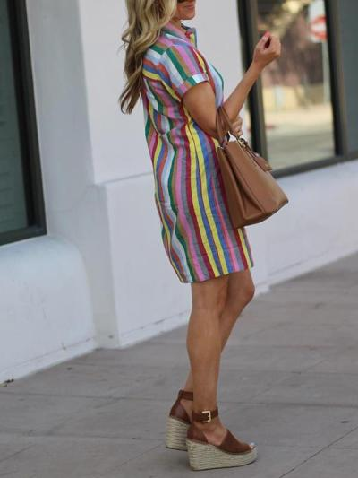 Colorful Striped lapel turn down collar shift dresses
