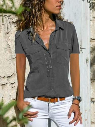 Short Sleeve Women Turn Down Collar Blouse