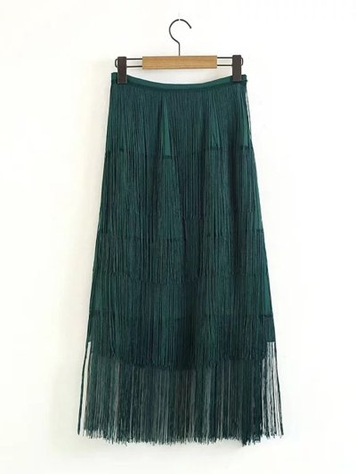 Woman Fashion Green Tassels Skirt