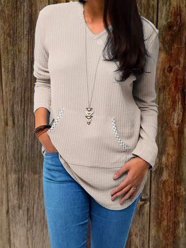 Solid-color Plain V-neck large pocket long sleeve knit T-shirts