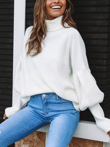 Four Color High Collar Lantern Sleeve Sweater