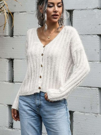 Fashion Pure Plush V neck Long sleeve Fastener Cardigan