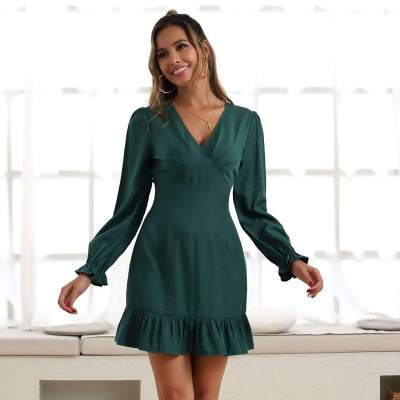Fashion V neck Long sleeve Pure Skater Dresses