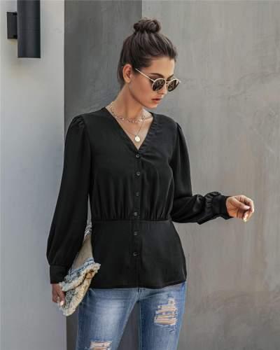 Fashion Pure Gored V neck Long sleeve Blouses