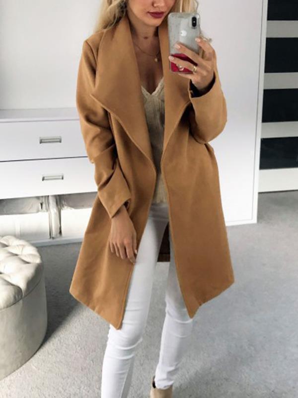 Long woolen cloth overcoat plain elegant big lapel coats