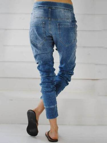 Fashion Denim tie waist trousers long pants