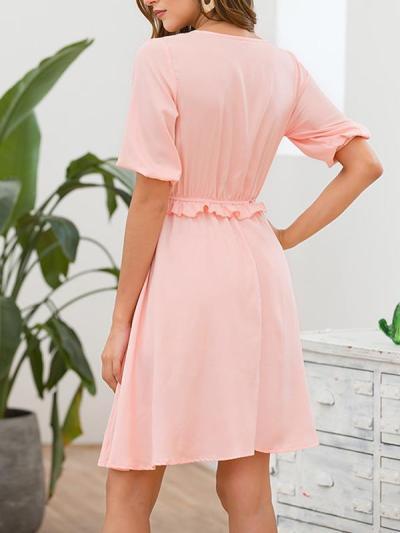 Slim sweet plain short sleeve v neck skater dresses