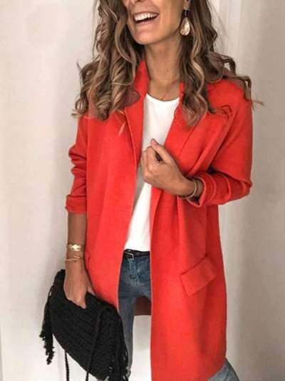 Solid color turn down neck long sleeve long blazers