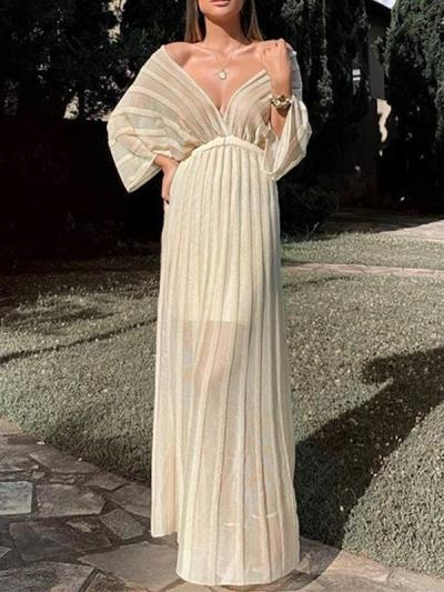 Elegant V-neck shawl sleeve evening dresses