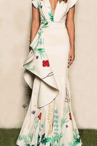 Fashion Sexy Print V neck Falbala Fishtail Evening Dresses