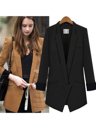 Turn-down Plain Elegant Pocket Blazer Coat