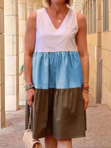 Sleeveless V-Neck Spliced Color Shift Dresses