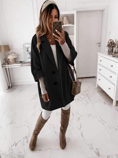 Fashion Pure Lapel Three quarter sleeve Pocket Coats