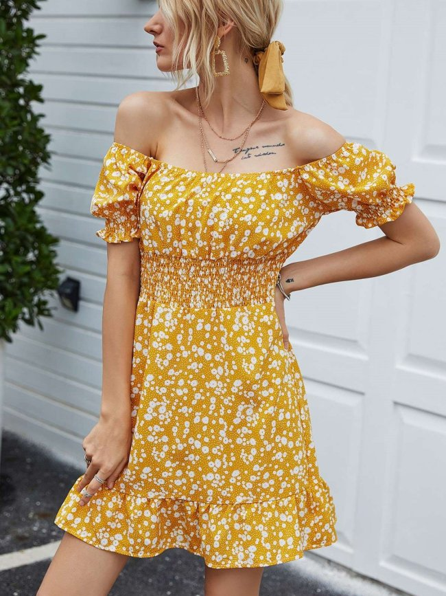 Fashion Print One shoulder Short sleeve Skater Dresses