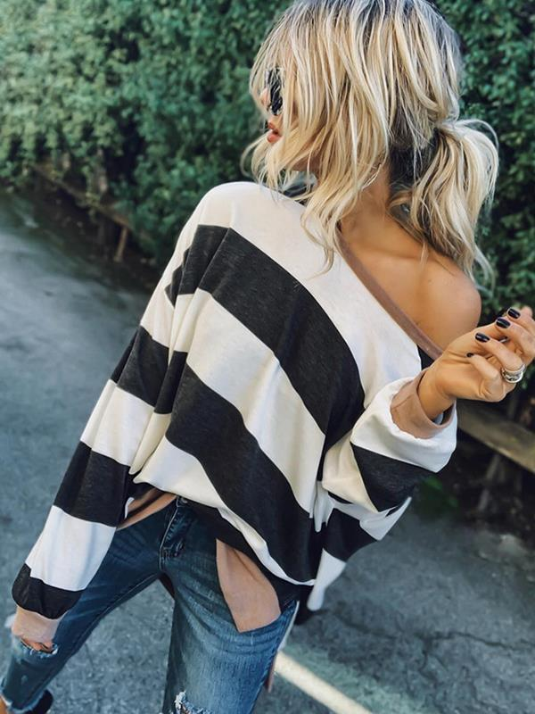 long sleeve loose stripe printed Fashion Sweatshirts