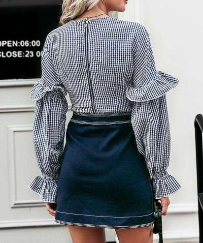 Fashion V neck Plaid Falbala Longt sleeve Blouses