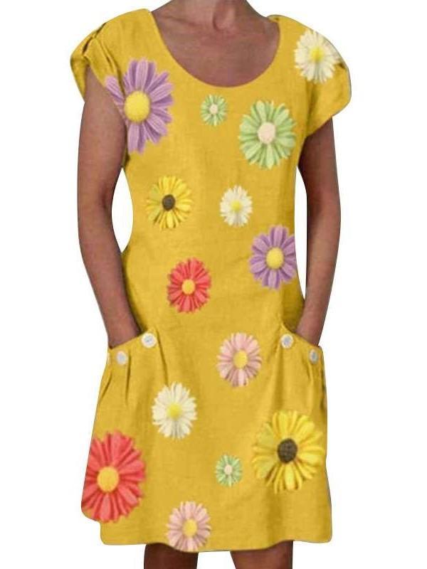 Fashion Casual Print Round neck Short sleeve Pocket Shift Dresses