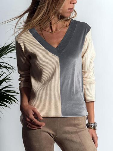 V Neck Special Color Matching Comfort Sweater