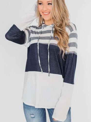 Loose Long sleeve Hoodies Stripe Hoodies & Sweatshirts