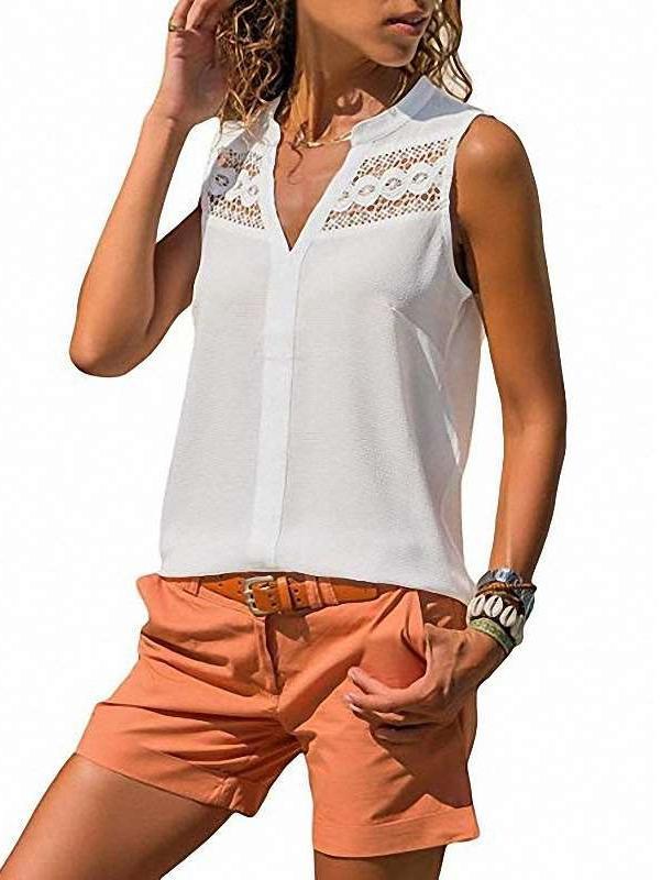 Fashion Pure Lace V neck Sleeveless Blouses